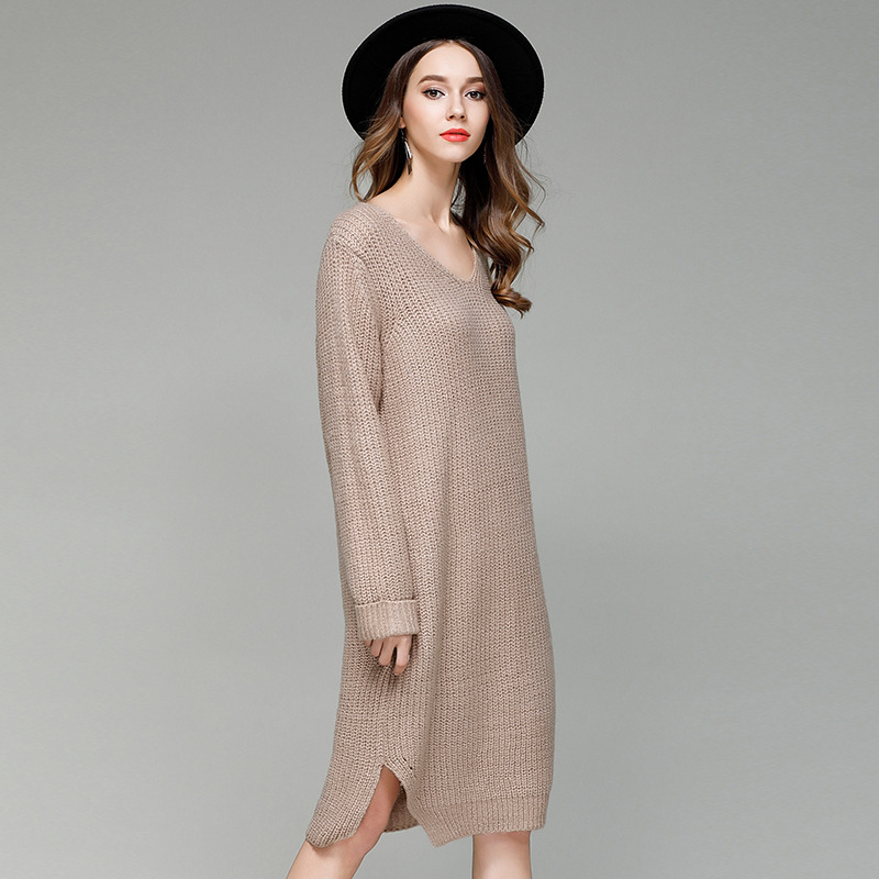 Women Solid Color Long Sweater Dress Loose Slit Side Jumper V Neck Base Knitted Long Sleeve 2019 Spring New Casual Wear One Size