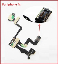 For iphone 4s best quality Power Button Flex Cable Ribbon Light Sensor Power Switch On / Off Button Replacement for iPhone 4S