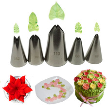 5 pcs set Leaves Nozzles Set Stainless Steel Icing Piping Nozzles Tips Pastry Tips For Cake Decorating Baking Fondant Tools