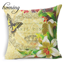 Homing New Arrival Spring Floral Cushion Cover Pattern Colorful Butterfly Cushion Pillow Cases Home Decor Modern 45 * 45
