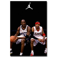 NICOLESHENTING Allen Iverson Michael Jordan Basketball Star Art Silk Fabric Poster Print 12x18 24x36 inch Pictures Wall Decor