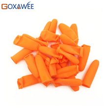 GOXAWEE 100pcs Fingertip Protector Tool Part Anti-Skid Orange Rubber Finger Guard Cover Stalls Cots Caps Antiskid Hair Extension(China)