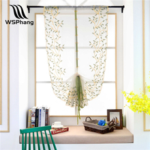 WSPhang 1pcs Roman Curtains Tulle Pastoral Willow Leaves Voile Panel Kitchen Window Curtains Livingroom Curtain Hot Sale