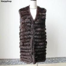 Harppihop 2018 chalecos tejidos de piel de conejo natural nuevo seis  colores buena calidad señora Rex 18e52b6afaab