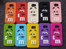3D Cartoon M&M's Chocolate Rainbow Beans Soft Silicone Phone Cases Cover for Samsung Galaxy S2/S3/S4/S5/S6/S7 Edge/Note 2/3/4/5