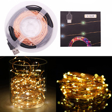 10M 33ft 100 led 5V USB outdoor Warm white/RGB led copper wire string fairy lights christmas festival wedding party decoration(China)