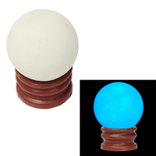 Delicate Glow In Dark Quartz Crystal Sphere Ball Luminous 3.5cm 60g + Base Blue green H02