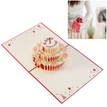 3D Colorful Paper Pop Up Greeting Card Happy Birthday Anniversary Birthday Valentine(China)