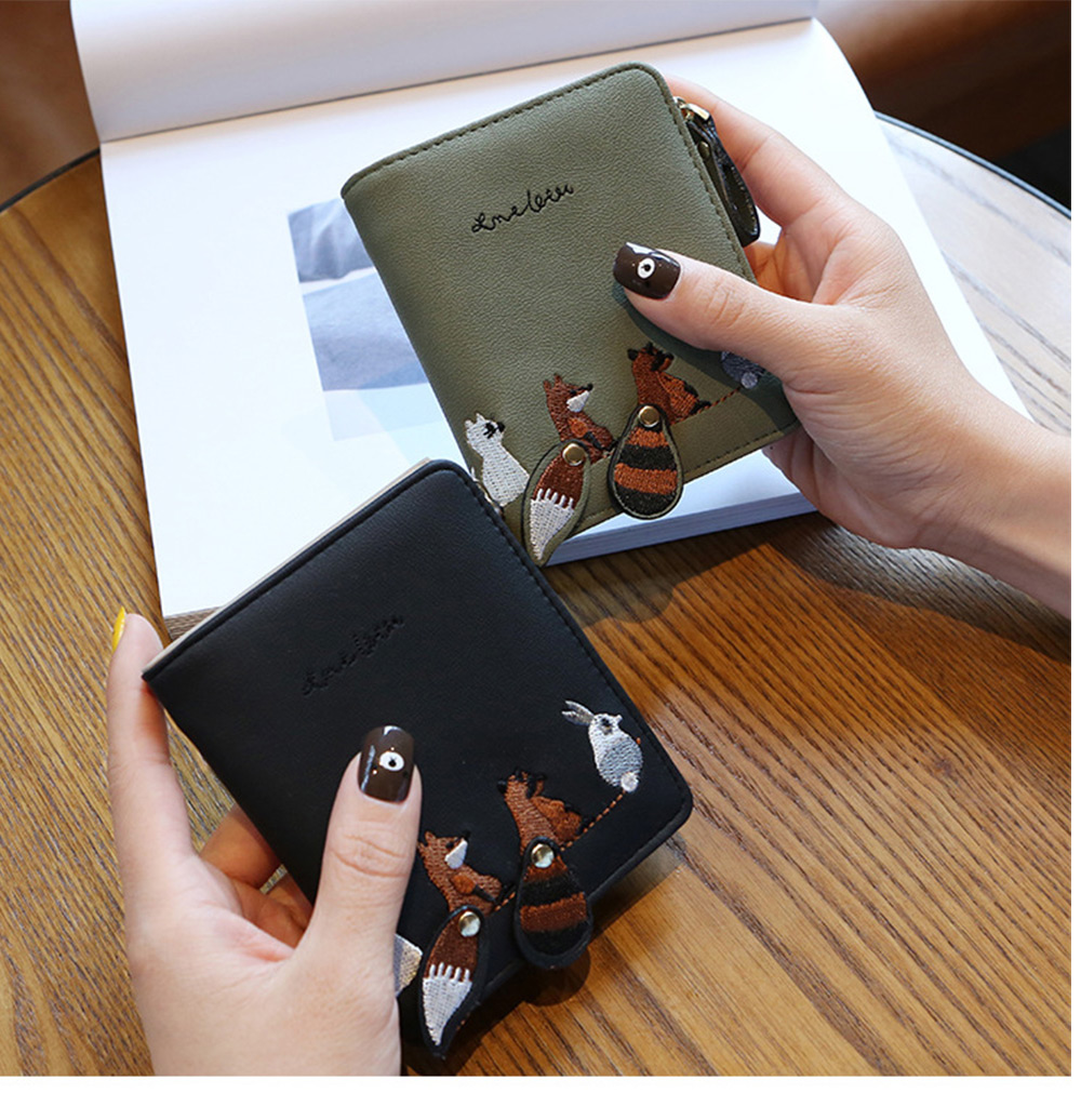 2018 Fashion Naivety Short Wallet Embroidery Fox Wallets Female PU Leather Hasp Coin Purse Zipper Clutch  drop shipping 46
