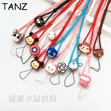 Cute 3D Cartoon Hot Sports Lanyard for MP3 Cell Phone Cases Keys Chain Team Neck Straps Universal silicon gel neck rope sling