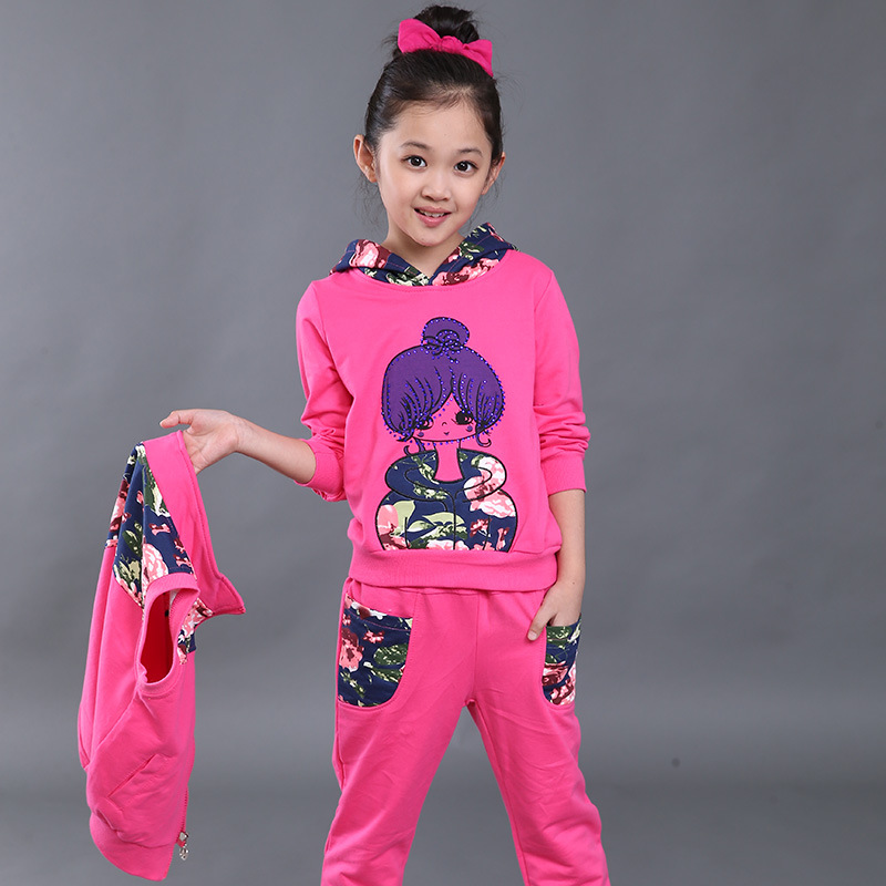 Girls Clothing Sets Autumn Winter Vest Waistcoat Girls Casual Sweatshirts + Trousers Sport Suit Outfit Kids Clothes Girl Costume<br>