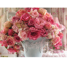 Round crystal Cross Stitch picture Diamond Embroidery flower pink rose vase home decor Diamond painting moasic floral