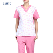 Brands LEHNO New Design Women's Scrub Sets Plus size V-neck Beauty Salon Clothes Printed Soft Cotton Wash Clothes Top+Pant(China)
