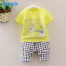 Summer Baby Sets Cotton Character Green Yellow Blue Newborn Shirt Shorts Cheap Baby Girl Bicycle Clothes Suit For 0-24M Baby