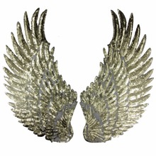 1 Pair Sequins Patch DIY Angel Wings Patches For Kids Clothes Sew-on Embroidered Patch Motif Applique Gold Silver Color