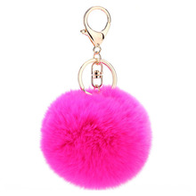 1Pc Soft Rabbit Hair Ball Kids Toy Female Phone Straps Keychain Keyring Gift Mobile Phone Decor Pendant Plush Ornaments P0.11(China)