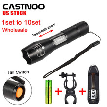 CASTNOO 1-10 PCS 8000 LM T6 LED Flashlight Torch + 18650 Battery +Battery Charger+Bike Clip from warehouse(China)