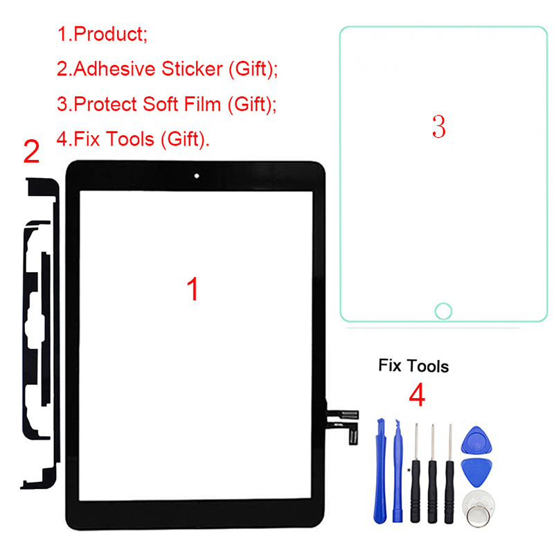 Digitizer Touch-Screen Front-Glass-Panel Air-A1474 iPad A1822 1pcs for 5th Gen title=