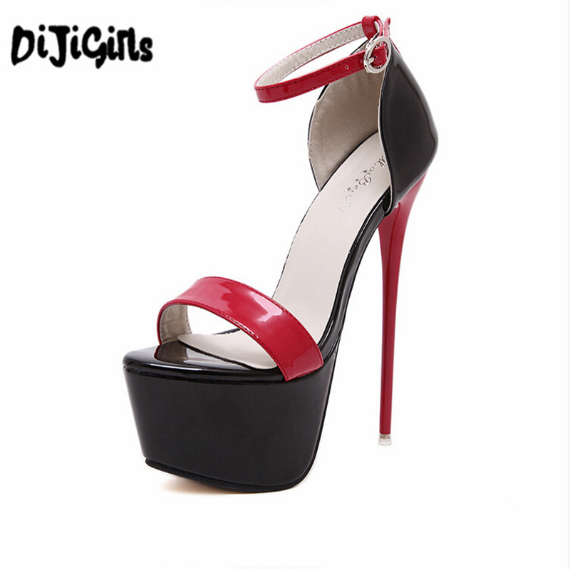 ladies pumps summer sandals sexy pumps 16cm high heel shoes women heels party Shoes strappy heels red white wedding shoes<br>