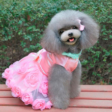 Female Pet Dogs Puppy Spring Summer Bow Rose Satin Gauze Party Tutu Dress Clothes(China)