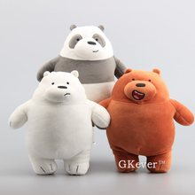 "New Arrival3 Styles Bare Bears Grizzly Peanda Ice Bear Stuffed Animals Cute Soft Plush Toys 10"" 25 CM Children Birthday Gift(China)"