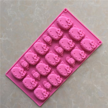 15 Holes Kt Cat Hello Kitty Silicone Chocolate Mold Jelly Pudding Cake Mold Mini Bakeware Pan E086