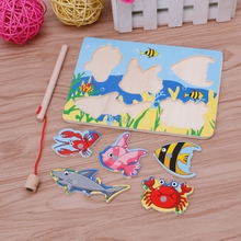 2017 Hot sale Baby Kids Magnetic Fishing Game + 3D Jigsaw Puzzle Board Wooden Educational Toy may18_30