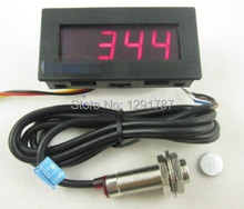 DC 8-15V Hall Proximity Switch Sensor NPN+ 4 Digital Red LED Tachometer RPM Speed Meter 5-9999RPM