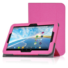 Rose Red PU Leather Protective Folding Folio Case for Toshiba AT10-A01S for 10.1'' Tablet PC Protective Cover Case