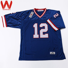 WENWUBIN Mens #12 Jim Kelly Embroidered Throwback Football Jersey