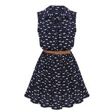 TFGS 2017 New Design Summer New Women Shirts Dress Cat Footprints Pattern Show Thin Shirt Dress Casual Dresses with Belt