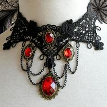 Victorian Gothic Halloween Red Rhinestone Charms Vampire Maxi Necklace Choker Fashion 2017 Cocktail Evening Party Dress Jewelry(China)