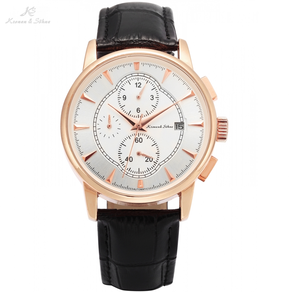 KS Automatic Watch Rose Gold Case Black Leather Band Date Month Mechanical Watches Men Luxury Brand Relogio Masculino /KS283<br>