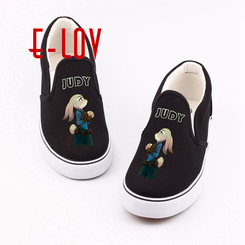 Newest Zootopia Canvas Shoes Printed Fox Nick Wilde Rabbit Judy Hopps Cartoon Animal Flat Shoes Woman Lady Casual Shoe Gift <br>