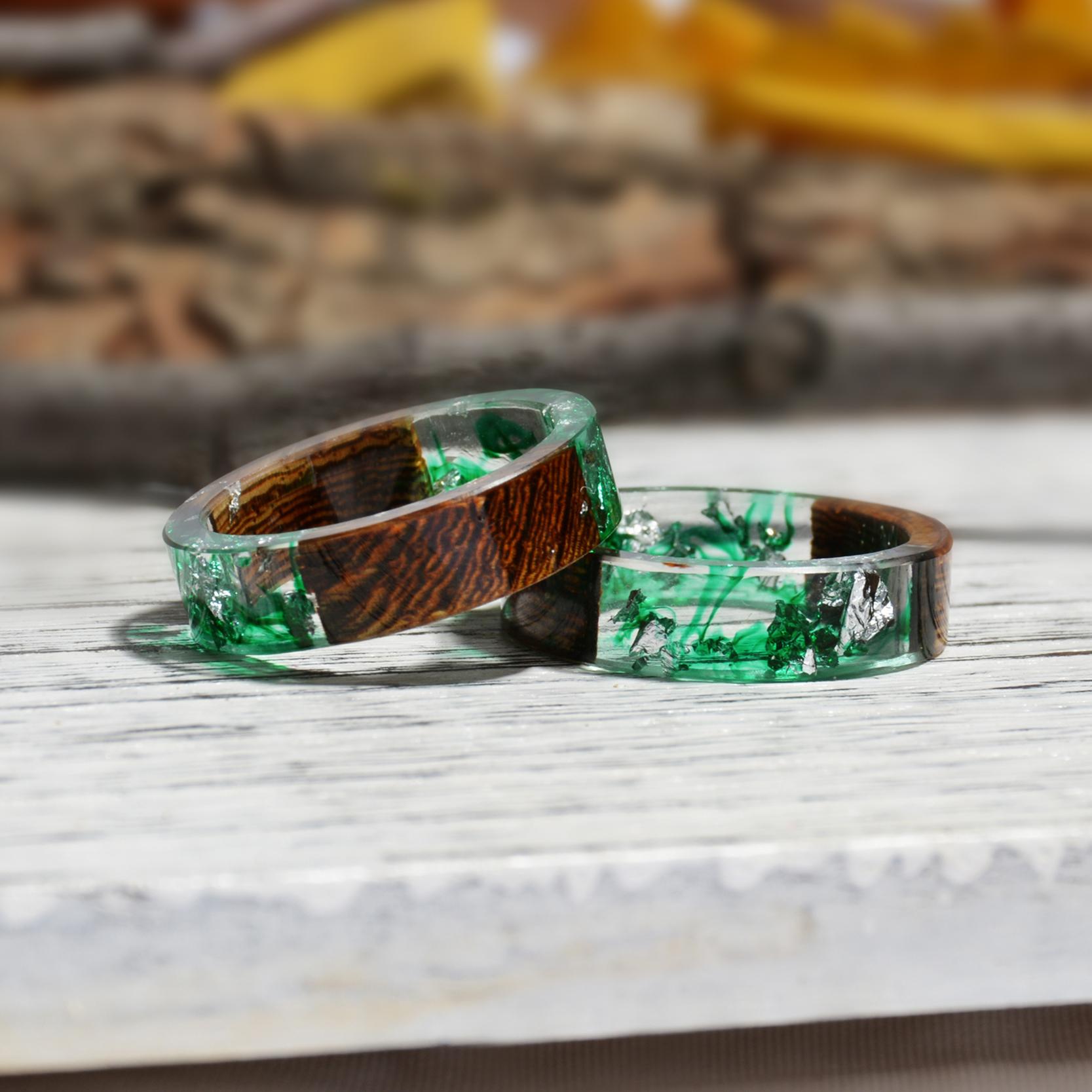 Clear Wood Resin Ring Handmade Dried Flower Hand Jewellery 20