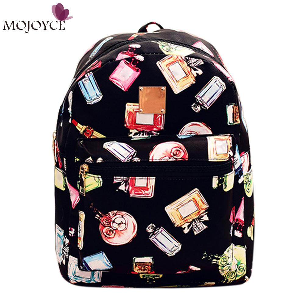 Brand Design Women Backpacks Perfume Bottle Printing Backpacks for Girl School Bag For Teenagers PU Leather Women Backpack<br><br>Aliexpress