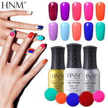 HNM 8ml Nail Polish Gorgeous Color Nail Gel Polish Vernis Semi Permanent Top Coat Base Coat Gel Nail Varnishes Gelpolish