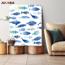 Cartoon Fish Ocean Motivational Canvas Print Painting Typography Quotes Mediterranean Art Poster Nautical Wall Picture Decor