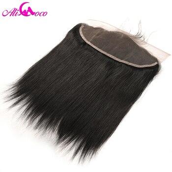 Али Коко волос 13x4 бразильские прямые Кружева Фронтальная застежка с ребенком волос свободной части 8-20'' не Реми волос натуральный черный