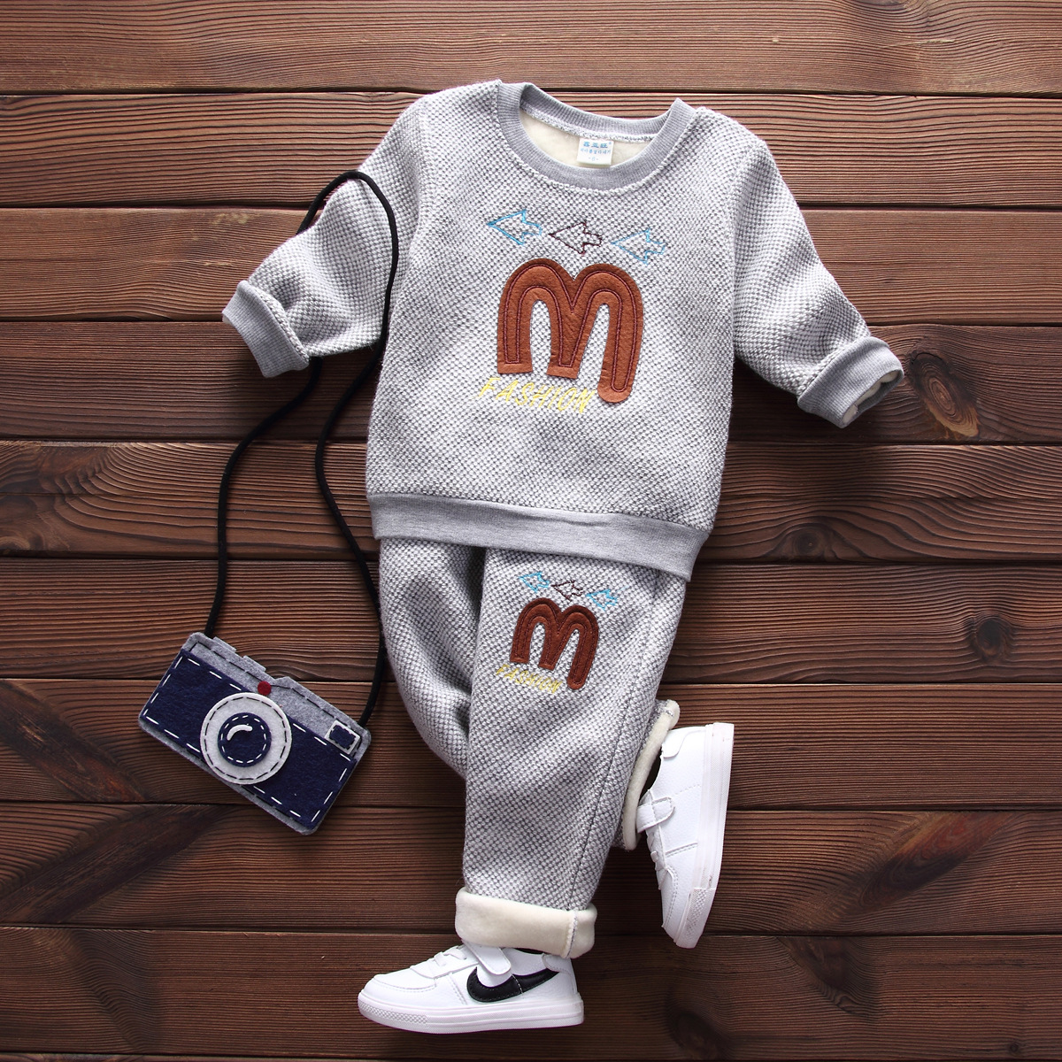 Winter Spring Kids Thicken Sets Baby Boys Girls Plus Velvet Pullover+Pants Two Piece Suit Cotton Childrens Kids Clothes Coats<br><br>Aliexpress