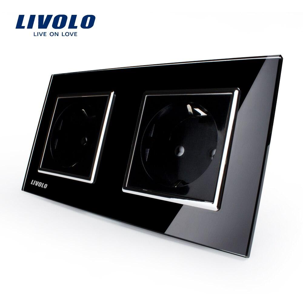 Manufacturer, Livolo EU Standard Wall Power Socket, Black Crystal Glass Panel, AC110~250V 16A Wall Outlet  VL-C7C2EU-12<br><br>Aliexpress