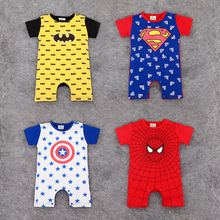 Retail Baby Rompers Fashion design Superman Spider-Man Baby Boys Girls costume Jumpsuits Roupas Bebes Newborn Infant Clothes