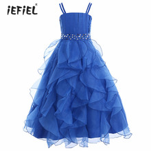 2017 Summer Princess Girls Flower Dress Children's Evening Dresses Kids Girls Chiffon Lace Dresses Party Formal Ball Gown Dress