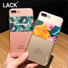 LACK Cartoon Case For iphone 7 Case Transparent Soft TPU Green Leaves Plants Phone Cases Girl Tea Cover For iphone7 7 Plus(China)