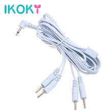 IKOKY Therapy Massager Accessories Electro Stimulation For Penis Ring Anal Plug 2/4 Pin Electric Shock Wire Cable Sex Toys(China)
