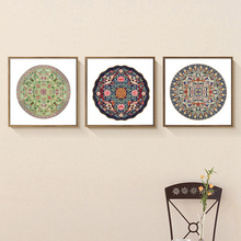 HAOCHU Triptych Bohemia Indian Style Earth Tone Floral Totem Circle Plate Oil Canvas Painting Wall Pictures Coloring By Numbers