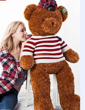 Fancytrader 140cm Jumbo Teddy Bears Toy Giant America Bear Plush with T-shirt Brown White for National Day Decoration