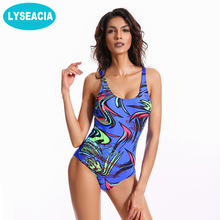 LYSEACIA New Women's Swimwear One Piece Sports Swimsuit Padded Bather Beachwear Slimming Swimming Suit for Women maillot de bain(China)