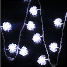 Free Shipping 50LED Wedding Party xmas Decoration Heart Shape Christmas light battery Love Festival String Fairy Lights