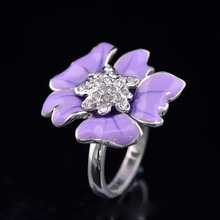 Retro Rhinestone-inlaid Lavender Flower Ring Epoxy Jewelry Floral Statement Vintage Rings for Women Gift Jewellery